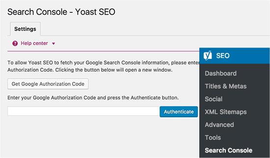 Sambungkan ke Google Search Console dari Yoast SEO