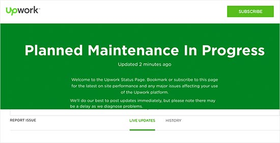 Upwork maintenance page with status updates