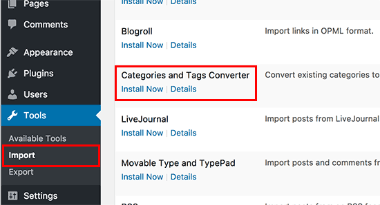 Install categories and tags converter in WordPress