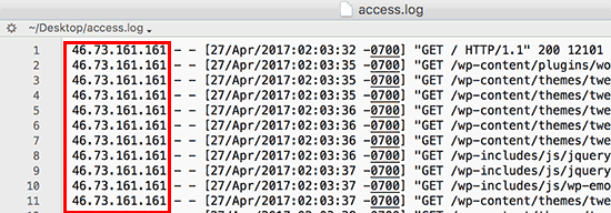 IP addresses in access log file