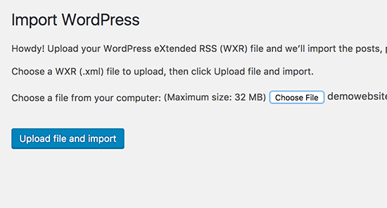 Importing WordPress XML file