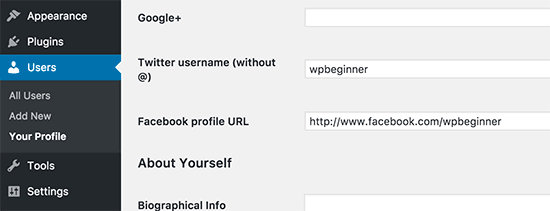 Facebook and Twitter fields in user profile