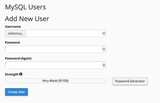 Thêm người dùng cơ sở dữ liệu mới