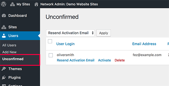 Pending unconfirmed users on a WordPress multisite