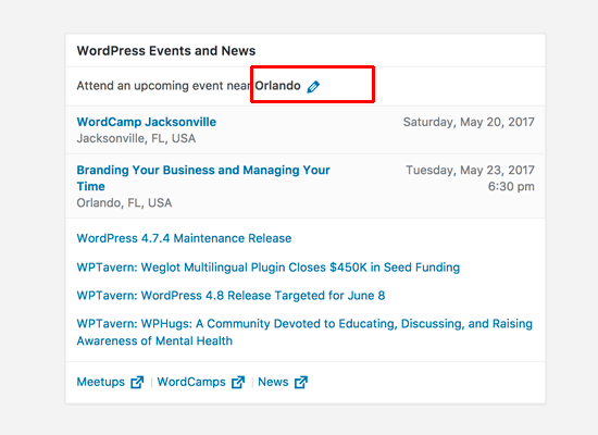 WordPress news and events widget