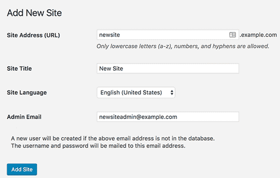 Adding new site details