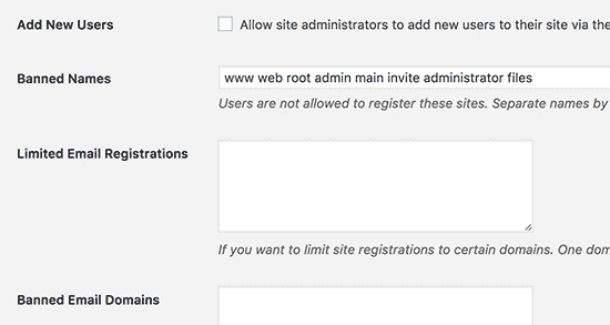 Registration options
