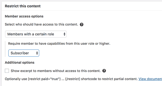 Restrict content by user role