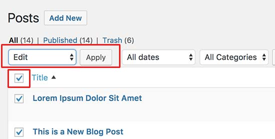 Select all posts for bulk editing