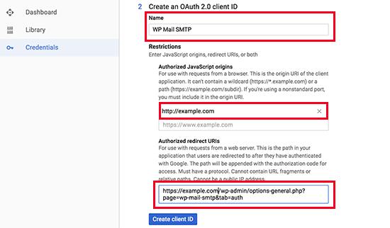 Step 2 of API credentials