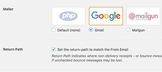 Select Gmail as Mailer