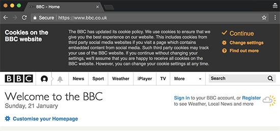 Cookies notification popup displayed on the BBC website