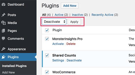 Nonaktifkan semua plugin