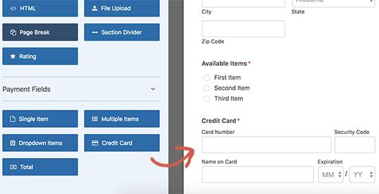 Add credit card field