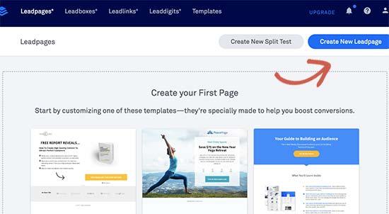 Membuat halaman arahan baru dengan Leadpages