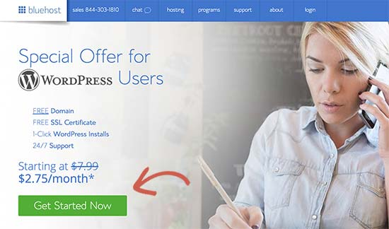 Bluehost get started button