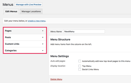 Adding items to navigation menu