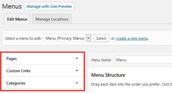 Options for menu