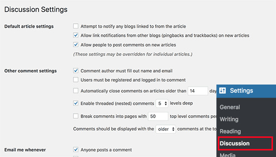 Comment settings