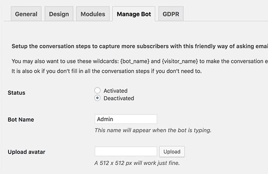 Manage bot settings