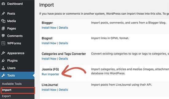Run Joomla importer
