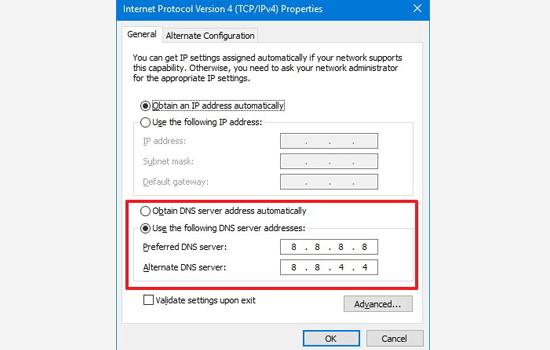 Mengubah server DNS di Windows