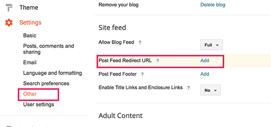 Redirect Blogger feed