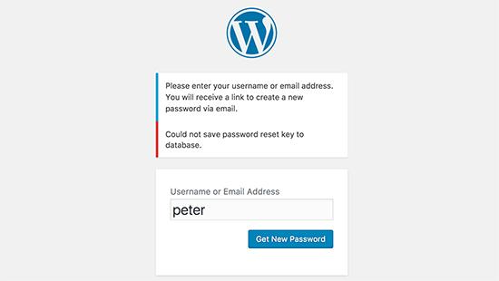 Password reset key error in WordPress