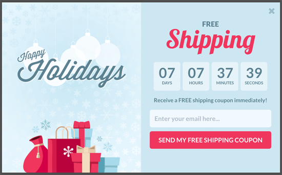 OptinMonster Countdown Timer Popup for Holidays