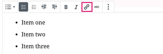 Кнопка ссылки в списке блоков