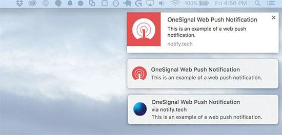 web push notifications shown on a desktop