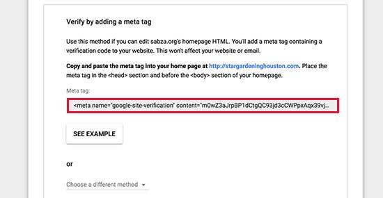 Скопируйте метатег, чтобы подтвердить свое право собственности на доменное имя