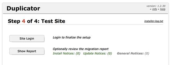 Migrasi situs web duplikator selesai