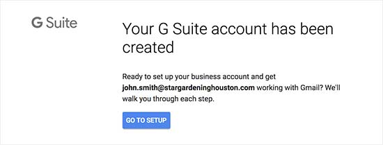 G Suite account setup completed
