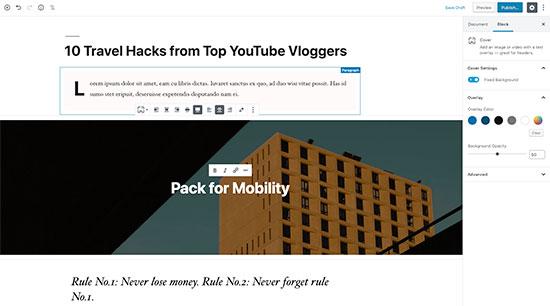WordPress post editor