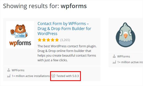 WPForms plugin tested with WordPress 5.0 plus