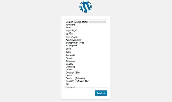 Pilih bahasa WordPress