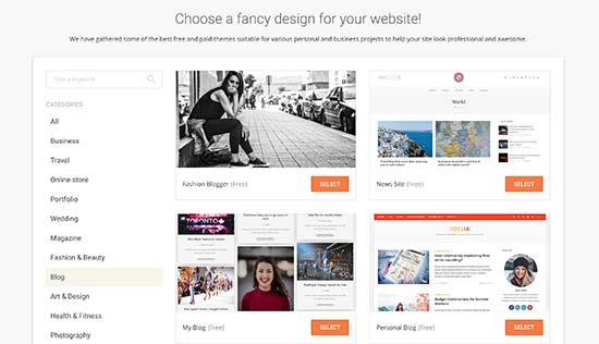 SiteGround WordPress starter design option