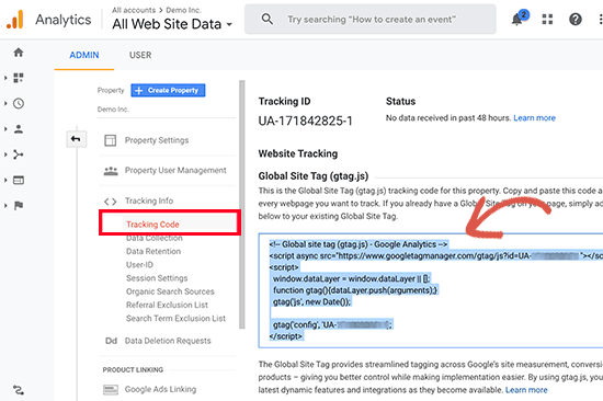 Copy your Google Analytics tracking code