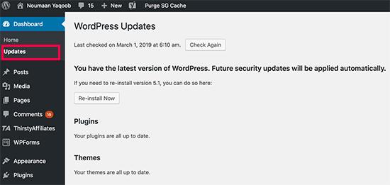 Manter o WordPress atualizado