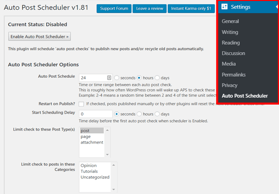 Configuración de Auto Post Scheduler en WordPress