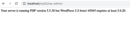 Aviso de versión de PHP en WordPress 5.2 beta