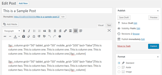 Шорткод и контент для 2 столбцов в WordPress