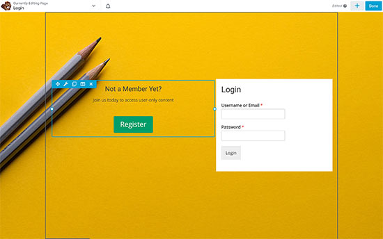 Creating a custom login page using page builder plugin