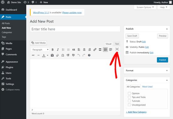 Modo de escritura sin distracciones en el editor clásico de WordPress