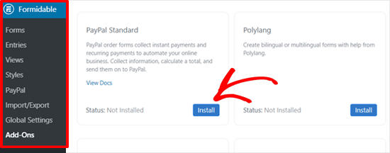 Install PayPal Standard Addon in Formidable Forms