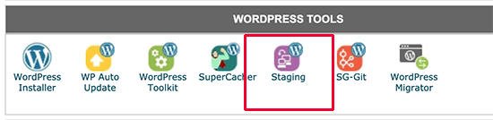 Staging icon in SiteGround cPanel