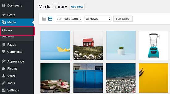 Select an image to edit in WordPress media library