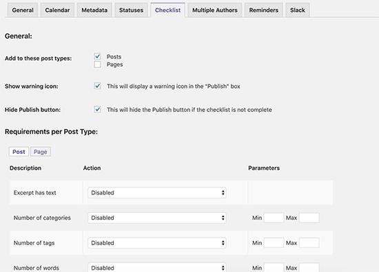 Create a content checklist