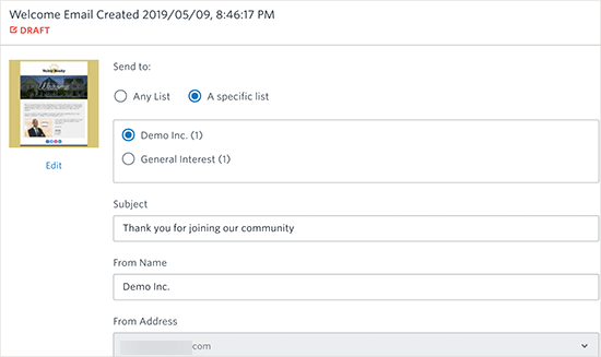 Welcome email settings